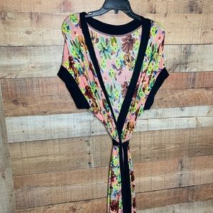 Anthropologie Pink Floral Short Sleeve Wrap Dress